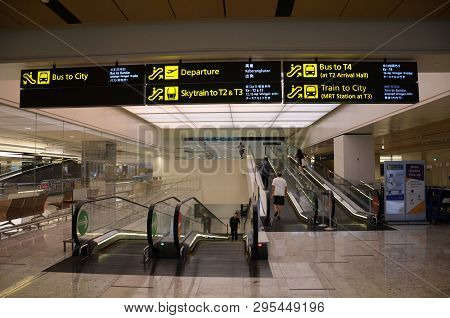 Singapore, 11 Apr, 2019: Interior Of Terminal 1 In Changi Airport Singapore . Singapore Changi Airpo