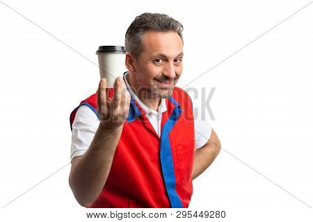 Trustworthy hypermarket or supermarket male employee presenting carton coffee cup as break time concept isolated on white background poster
