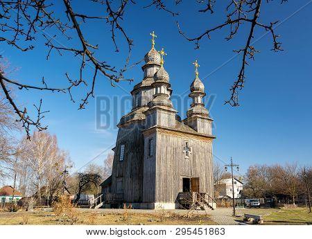 Traditional Wooden Georges Church In Sedniv, Chernihiv Region, Ukraine