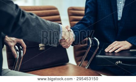 Handshake Of Business Partners Before Starting The Discussion O