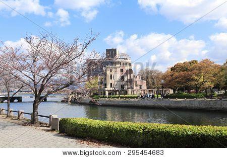 Atomic Bomb Dome (Genbaku Dome Mae), Hiroshima Peace Memorial, Japan. Ruins of a building after an atomic bomb explode