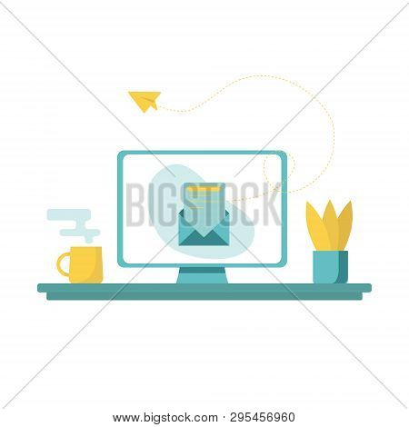 Vector Concept Illustration - Site Creation Process. Modern Bright Banner, Site Template With Place