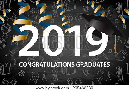 Graduating Class Of 2019. Poster, Party Invitation, Greeting Card In Gold Colors. Grad Poster, Vecto