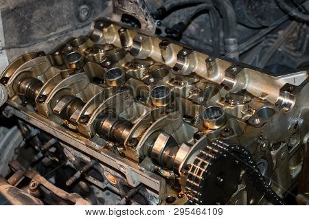 The Camshaft Of The Vehicle, The Timing Chain On A Disassembled Car Engine