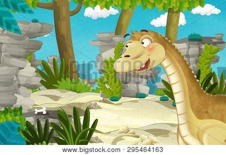 Cartoon Scene With Dinosaur Apatosaurus Diplodocus In The Jungle - Illustration For Children