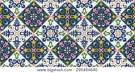 Ethnic Style Vector Seamless Pattern. Azulejos Ceramic Tile Design. Talavera Tracery Motif. Portugue