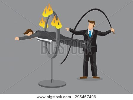 Business Executive Jumping Through Ring Of Fire As Ordered By Businessman Holding Whip. Cartoon Vect