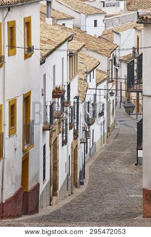 Andalusian Picturesque Street With White Facade Wall. Ubeda, Jaen. Spain