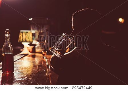 Enjoying Cold Drink. Man Drinker In Pub. Handsome Man Drink Beer At Bar Counter. Alcohol Addict With
