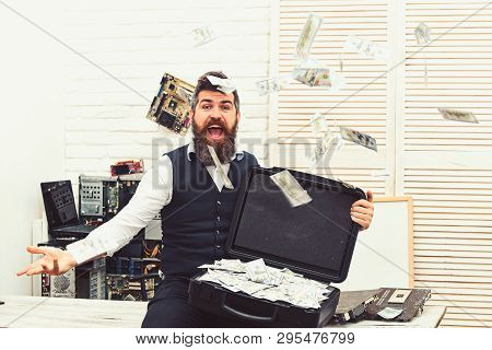 Getting Cash Rich. Bearded Man Throwing Cash Money. Bearded Businessman With Dollar Banknotes. Rich