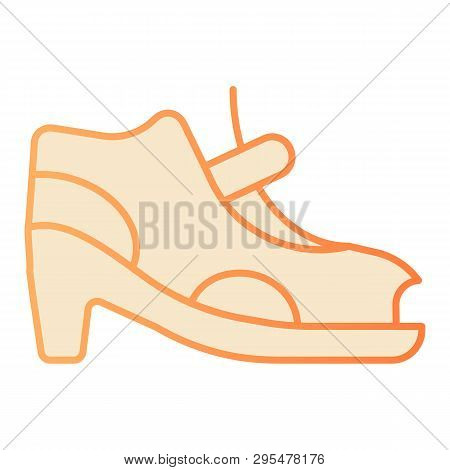Woman Shoes With Clasp Flat Icon. High-heeled Sandals Orange Icons In Trendy Flat Style. Footwear Gr