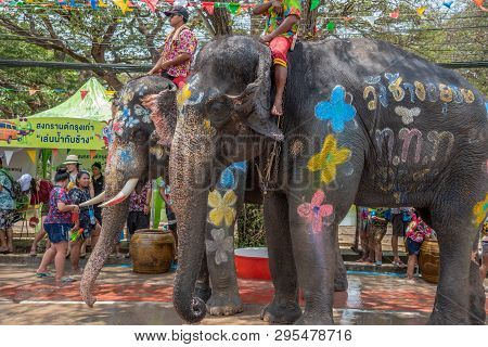 Ayuthaya, Thailand - April 15, 2019 : Elephant And Peoples Are Splashing Water In Songkran Festival(