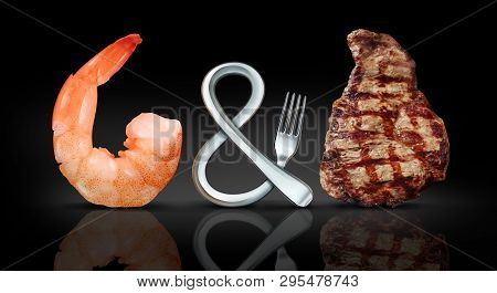 Surf And Turf Food As Seafood And Steak Meal Concept As A Fork Shaped As A Symbol On A Black Backgro