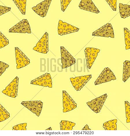 Seamless Pattern Made From Pieces Of Edam And Cheddar Cheese. Doodle Technique. Suitable For Backgro