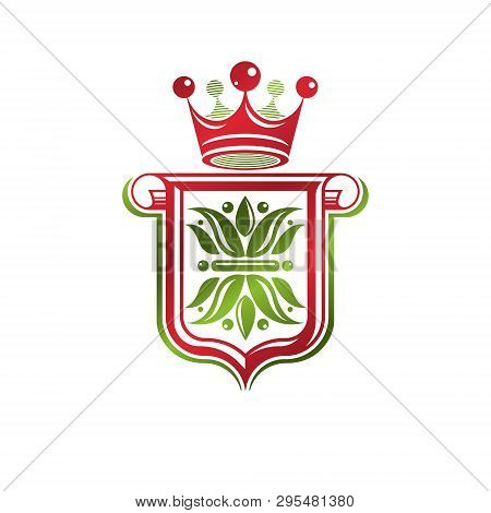 Vintage Heraldic Emblem Created With Monarch Crown And Lily Flower Royal Symbol. Best Quality Produc