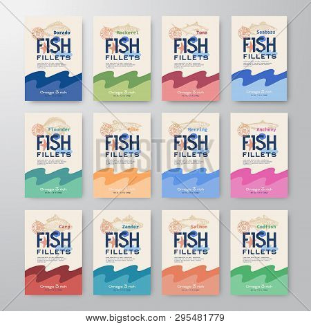 Fish Fillets Labels Collection. Abstract Vector Fish Packaging Design Or Cards Series. Modern Typogr