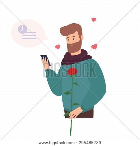 Cute Bearded Man Holding Rose Flower, Waiting For First Romantic Date And Texting Or Sending Message