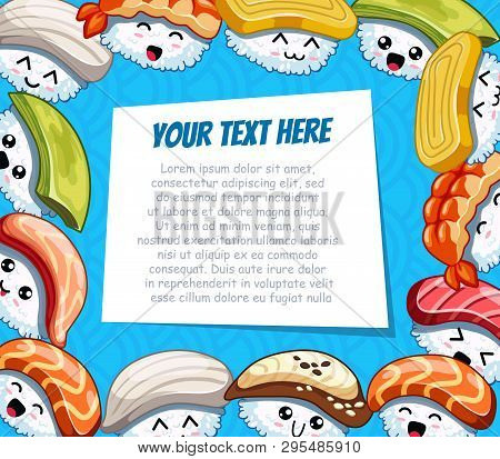 Horizontal Cartoon Frame With Funny Sushi On Blue Background. Template For Advertising Brochure With