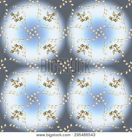 Gold Metal With Floral Pattern. Neutral, Gray And Blue Colors With Golden Elements. Vector Golden Fl