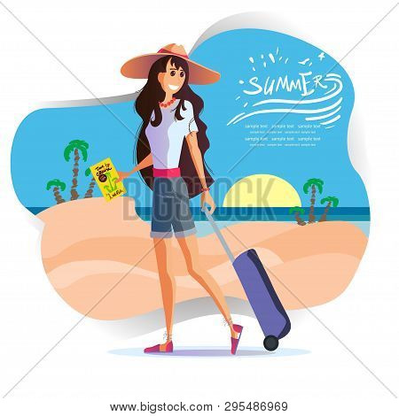 Young Girl In A Hat Travels.travel Vacation Concept