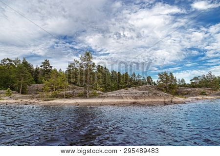 Landscape Of Lake Ladoga. Republic Of Karelia. Coast Rugged By Fjords. Natural Phenomen Of Karelia.