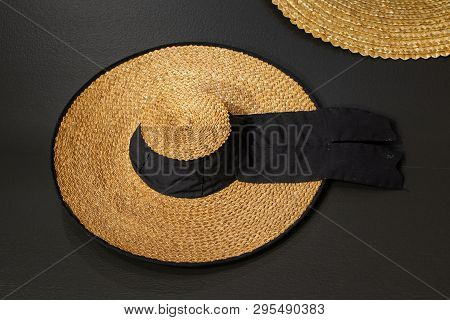 Wickerwork Hat Called Sancosmeiro Made Of Straw. Traditional Rural Hat From Galicia, Spain