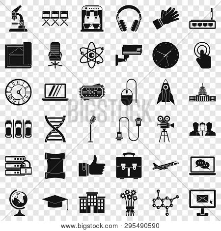 Seminar Icons Set. Simple Style Of 36 Seminar Vector Icons For Web For Any Design