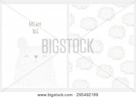 Cute Hand Drawn Big Bear Vector Illustration. Funny Bear Made Of Tiny Gray Dots. Dream Big Nursery A