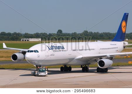 Dusseldorf, Germany - July 8, 2013: Lufthansa Airbus A340 At Dusseldorf Airport, Germany. Lufthansa