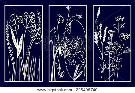 Set Of Decorative Laser Cut Panels With Floral Composition. Vector Illustration.