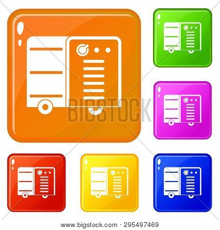 Inverter Welding Machine Icons Set Collection Vector 6 Color Isolated On White Background