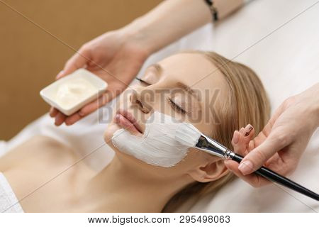Spa Facial Mask Application. Spa Beauty Organic Facial Mask Application At Day Spa Salon.