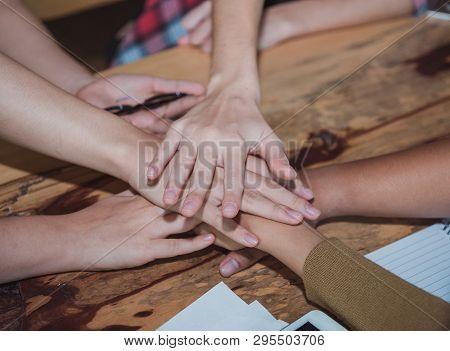 Start Up Business Teamwork Cooperation Hands Together. Teamwork Successful High Five Together. Peopl