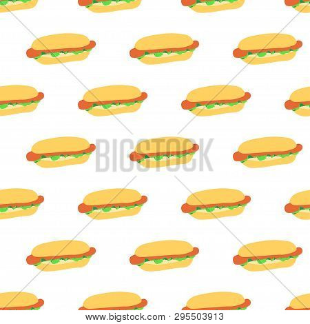 Seamless Pattern With Hot Dogs On White Background. Good Design For Wrapping Paper, Textile, Website