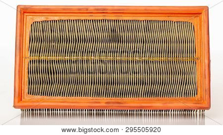 Dirty Car Air Filter, On A White Background, Expendable