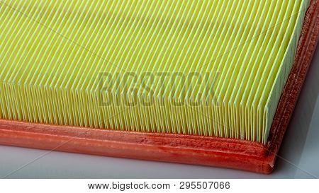 Clean Car Air Filter, On A White Background Close Up, Expendable