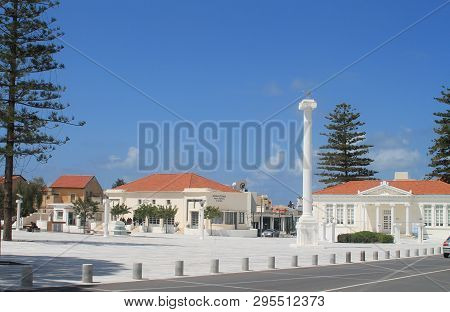 Paphos, Cyprus, April 11th, 2019: Monument Of The 28th Of October On Town Hall Square In Pano Paphos