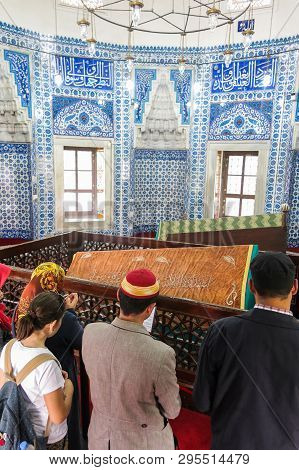 Istanbul, Turkey - May 21, 2016: Tombs Of The Sultans: Suleiman Han And Hurrem Sultan. The Suleymani