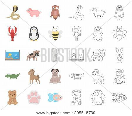 An Unrealistic Cartoon, Outline Animal Icons In Set Collection For Design. Toy Animals Vector Symbol