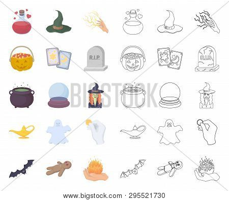 Cartoon, Outline And White Magic Cartoon, Outline Icons In Set Collection For Design. Attributes And