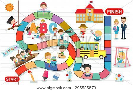 Board Game With Children Back To School, Illustration Of A Board Game With Education Background, Kid