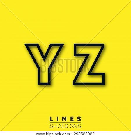Letters Linear Design. Set Of Letter Y, Z Template For Logo Or Icon