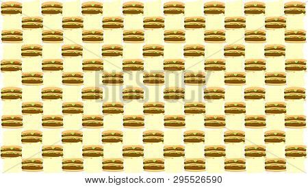 Hamburger Vector Pattern On Beige Background. Big Medium Small Cheeseburgers Pattern. Seamless Patte
