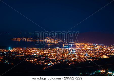 Panorama Of The Night City Top View.