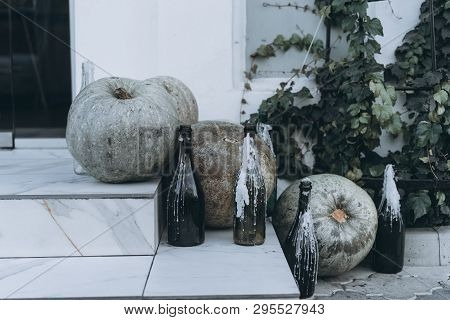 Autumn Decoration With Pumpkins On A Street