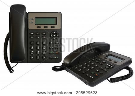Telephone Set With Display And Buttons. Modern Phone For Ip-telephony. Isolated, White Background.