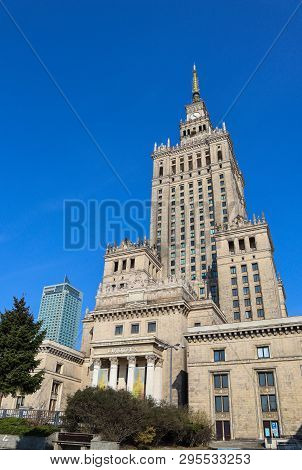 Warsaw / Poland - April 03 2019. Palace Of Culture And Science In The City Center