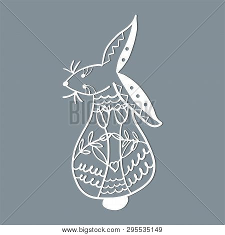 Easter Rabbit Bunny. Template For Laser Cutting, Wood Carving. Vector Illustration.