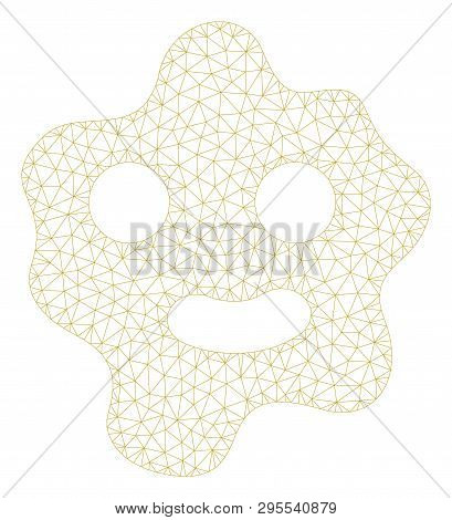 Mesh Ameba Polygonal 2d Illustration. Abstract Mesh Lines And Dots Form Triangular Ameba. Wire Frame
