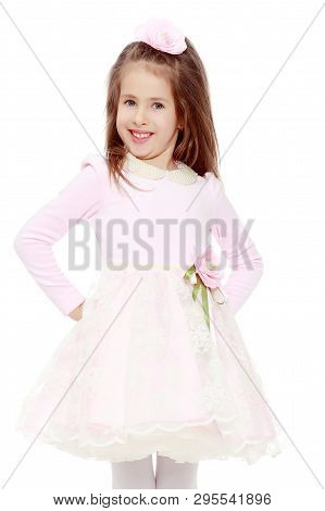 Dressy Little Girl Long Blonde Hair, Beautiful Pink Dress And A Rose In Her Hair.she Put Hands On Hi